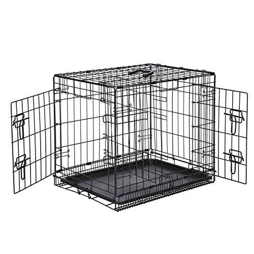 Amazon Basics Hundekäfig mit 2 Türen, Metall, zusammenklappbar, Gr. S