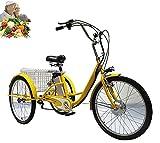 Triciclo eléctrico para Adultos de 3 Ruedas asistido por Motor 3 Ruedas con Pedales Triciclo de batería de Litio de 24 Pulgadas con Canasta de Verduras, Padres(Yellow,24'')
