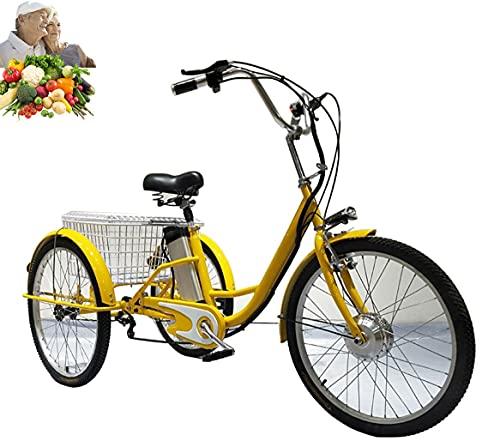 Triciclo elettrico per adulti 3 ruote 3 ruote servoassistite con pedali Triciclo batteria al litio da 24 pollici con cesto di verdure, regalo perfetto per i genitori(yellow,24'')