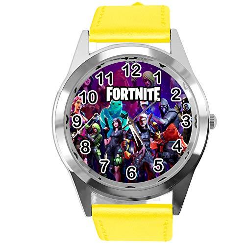 TAPORT® Reloj de cuero amarillo para los fans de Fortlite