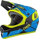 O'Neal Sonus Deft All Mountain Bike Helm Fullface Downhill Freeride Cross Trail MTB DH FR, 0805, Farbe Blau Neongelb, Größe M