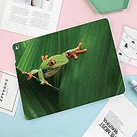 多彩なiPad 9.7 ケース PU レザー iPad 9.7 2018 第6世代 / iPad 2017 第5世代 / iPad air/iPad pro 9.7 / iPad air78 対応 ケー図案を焼き付けるエキゾチックなマクロの大きな葉の間のかわいい赤目カエル野生の自然夜の動物鮮やかな色の画像