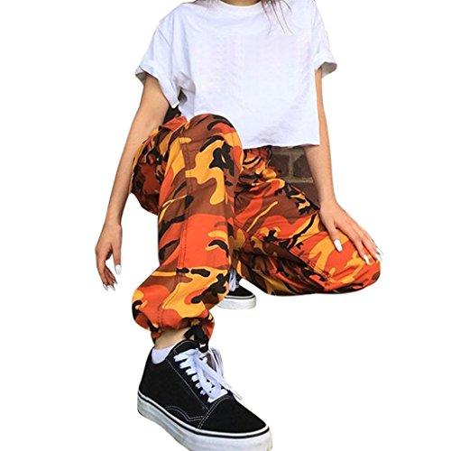 Vovotrade dames jersey-broek in sport-stijl dames sweatbroek met manchetten vrouw sport camo lading broek buiten casual camouflage broek jeans, Size:L, oranje