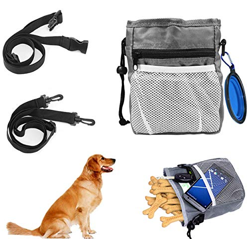 QIMMU Hundefutter Taschen,Hunde Leckerlitasche,Futterbeutel für Hunde Training,Leckerlibeutel fur Hunde mit Zusammenklappbare Hundenapf,Verstellbare Taillen und Schultergurte(Grau)