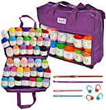 Mira Handcrafts 40 Yarns with Non-Woven Crochet Knitting Carry Bag, 4 Crochet Locking Stitch Markers, 2 Crochet Hooks, 2 Plastic Needles, 7 Ebooks with Yarn Patterns – Ideal Crafts Yarn