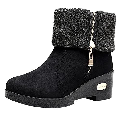 iCODOD Womens Ankle Boots Cowboy Cowgirl Boots Furry Winter Boots Platform Boots Flat Black Snow Boots With Side Zipper