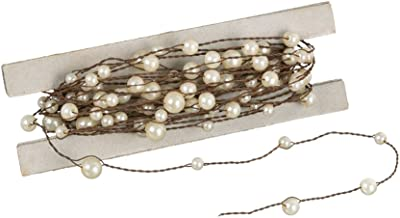 Sullivans 24' Strand of Rustic Beaded Wire Garland (White (Simulated Pearl))