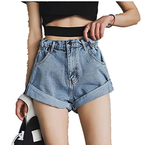N\P Denim Shorts Ladies White Short Jeans Khaki Wide-Leg Elasticated