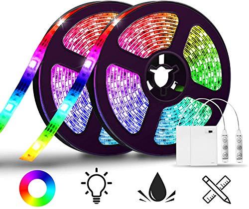 LED Streifen batterie,SOLMORE 4M LED Stripes Lichtband Stripe Lichterkette Bänder 2x 2M IP65 Wasserdicht für Innen Außen Beleuchtung Weihnachten Dekorative SMD5050 (Battery Box nicht wasserdicht)