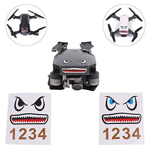2 Piezas Pegatina Tiburón Cara Calcomanía Drone