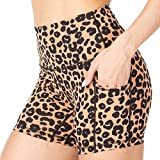 6. Sunzel Yoga Shorts for Women with Pockets, High Waist Biker Shorts, Buttery Soft Squat Proof Workout Athletic Running Shorts (Yellow Leopard, S)