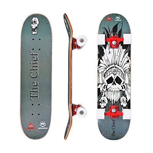WIN.MAX Skateboard, Komplettboard mit ABEC Kugellager, 31 * 8 Zoll Holzboard aus 9 Fach Verleimte Ahornholz (The Chief)