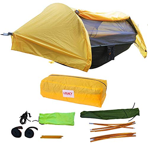 Legacy Premium Food Storage Camping Hammock Tent - Yellow - Parachute Nylon - Portable, 1 Person Compact Backpacking - Outdoor & Emergency Gear - Tree Straps, Tie Ropes, Mosquito Net, Rain Fly
