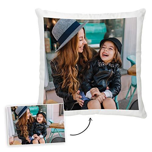 Fotoprix Cojín Personalizado con Foto y Texto | Relleno Incluido | Regalo Original con Fotos | Cojín Decorativo | Varios tamaños y Formas | 35 x 35 cms