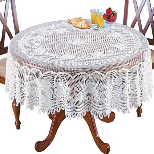 Runde Tischdecke 180 cm Lace Tablecloth Vintage Elegante Blumen Rosenmuster Table Covers Valentinstag Hause Hochzeit Party Decor Abdeckung für Küche Esstisch (Weiß)