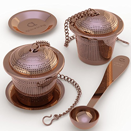Apace Loose Leaf Tea Infuser (Set of 2) with Tea Scoop and Drip Tray - Ultra Fine Stainless Steel Strainer & Steeper (Rose Gold, Medium)