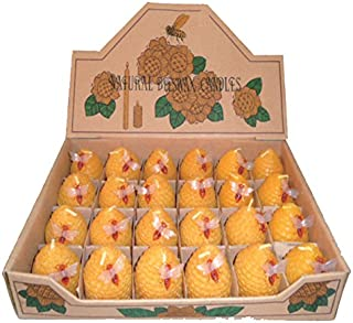 Green Pastures Wholesale Small Beehive Beeswax Yellow Candles, Set of 24