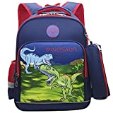 Cool Dinosaur Schoolbag for Boys Girls 2PCS Backpack with Pencil Bag for Children Student Book bag (Blue with Red Dinosaurs)