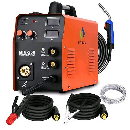 HITBOX New Arrival Mig Welder MIG TIG ARC Welding Machine Gas Gasless Welder 220V Mig Welding Machine 3 in 1 MIG250