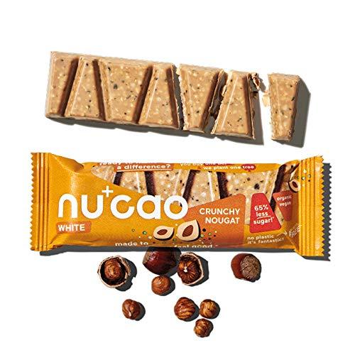nucao white -Crunchy Nougat- Vegane Weiße Choc mit Bio Nährstoffkick aus crunchy Hanfsamen & cremiger Tigernuss [Nachhaltig Plastikfrei] 12 Riegel, 480g