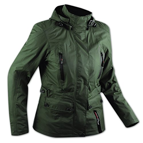 A-Pro, giacca da donna ideale in città, in moto o scooter; impermeabile, con protezioni e cappuccio, colore verde, taglia M