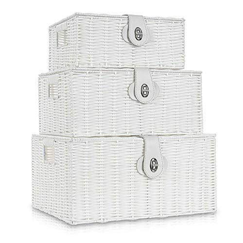 Conjunto de 3 cestas trenzadas de almacenamiento de mimbre con cubiertos, asa lateral, organizador para cuarto de baño, salón, cocina o dormitorio (blanco)
