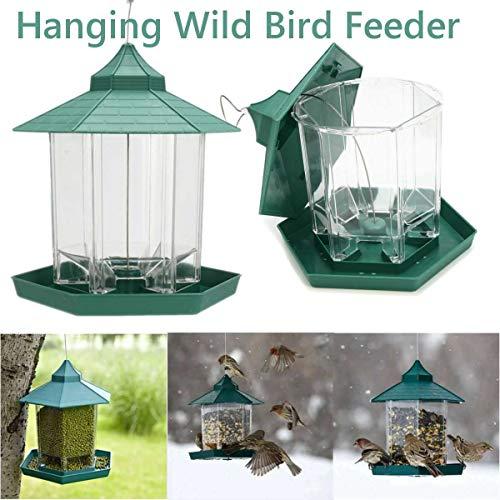 WTTTTW wasserdichte Wilde Vogel hängen vogelhäuschen, Outdoor Food Container pavillon vogelhäuschen Form perfekte Baldachin grün 23 * 20 cm