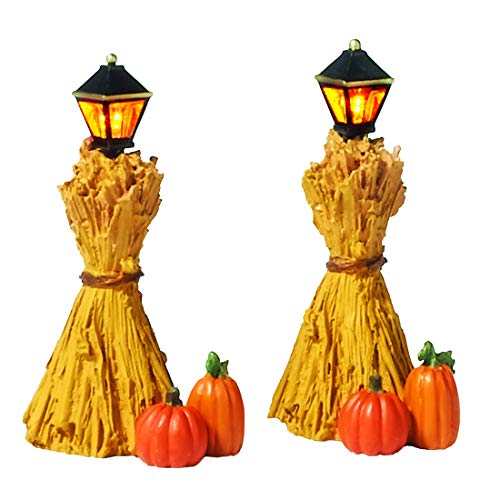 Department 56 Halloween Accessories for Village Collections Harvest Corn Stalk Lantern Lit Figurine Set, 2.25 Inch, Multicolor