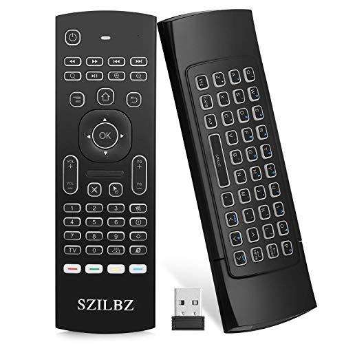 SZILBZ - Teclado con retroiluminación Fly Mouse Kodi Remote, 2,4 G mando a distancia inalámbrico para Smart TV, Android, TV Box, Mini PC, HTPC