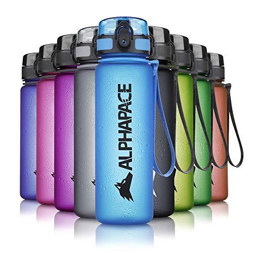ALPHAPACE Trinkflasche, auslaufsichere 500 ml Wasserflasche, BPA-freie Flasche für Sport, Fahrrad & Outdooraktivitäten, Sportflasche mit Fruchteinsatz, in Blau