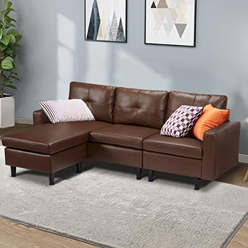 Esright Faux Leather Small Sectional Sofa Convertible Couch Brown Leather L-Shape Couch for Small Space Apartment, 3 Piece Living Room Furniture Sets with Chaise Lounge, Brown