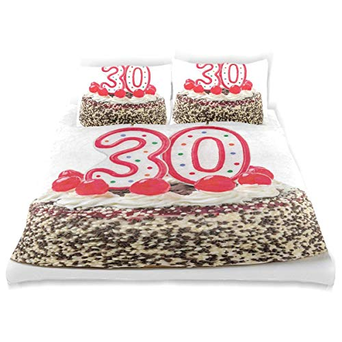 Duvet Cover Set Birthday Cake Cherries Candles Print Decorative 3 Piece Bedding Set with 2 Pillow Shams Easy Care Anti-Allergic Soft Smooth