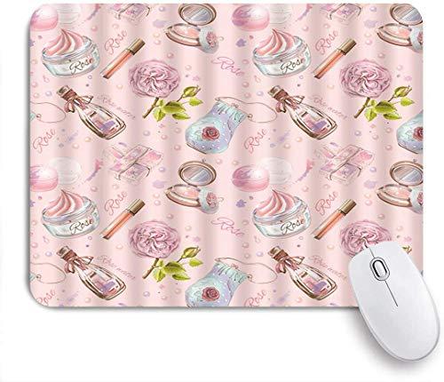 Rechteckiges Mauspad, Make-up Parfüm Foundation Lippenstift Mädchen Romantische Kosmetik Blume, Tischmatte, Gaming Office Decor, 9,5 x 7,9 Zoll