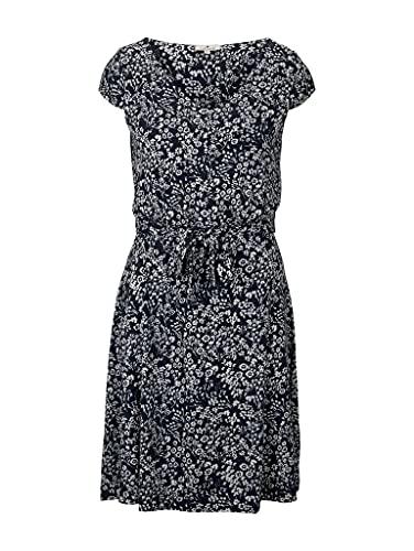 TOM TAILOR Damen 1026052 Feminine Kleid, 27224-Navy Offwhite Flower, 38