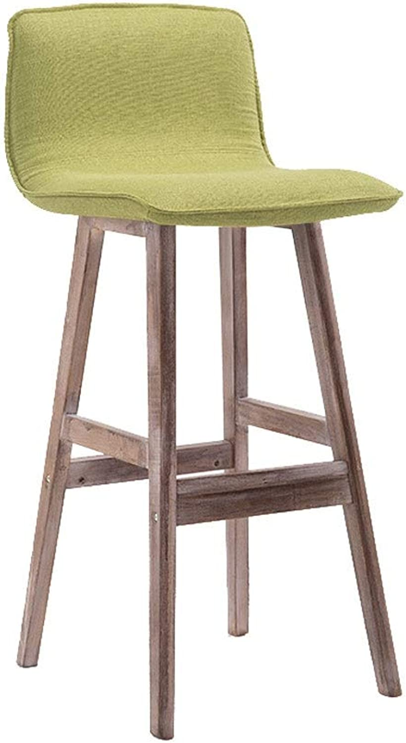 A+ Bar Chair with Backrest, High-Elastic Sponge-Filled Wooden Step Stool Natural Wood Grain High Chair - 6 color-43cmX99cm (color   Green)