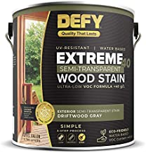 DEFY Extreme 40 Semi-Transparent Wood Deck Stain - Ultra Low VOC Formula, 1 Gallon - Driftwood Gray