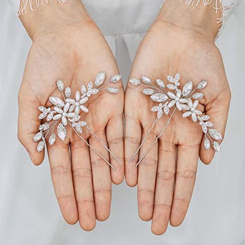 Handcess Kristall-Haarnadel, Blume, Perlen, Kopfschmuck, Strass, Braut, Hochzeit, Haar-Accessoires für Frauen und Mädchen (2 Stück)