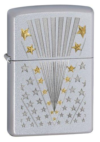 Best Buy! Zippo Satin Chrome Flag Lighter (Silver, 5 1/2x3 1/2-Cm)