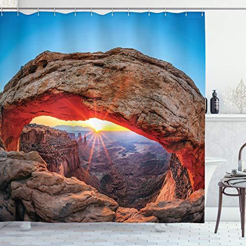 ABAKUHAUS Landschaft Duschvorhang, Utah Nationalpark, mit 12 Ringe Set Wasserdicht Stielvoll Modern Farbfest & Schimmel Resistent, 175x180 cm, Hellbraun Himmelblau Bernstein