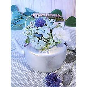 Blumenstrauß Teekessel Hortensie Distel Rose Blumengesteck Wasserkessel Zink Blüten Eukalyptus Sommer Herbst…