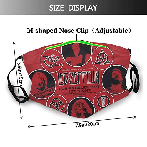 WINTERSUNNY Band Face Mask for Adults Reusable Windproof Led Zeppelin Poster Mouth Cover with Elastic Straps Fashionable Stairway to Heaven Decorative Masks