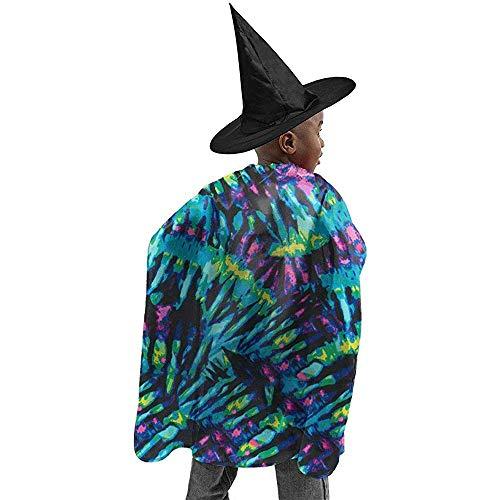 KDU Fashion heksenhoed Tie Dye Print Blue/Orange Multi Halloween Strega kostuums Cosplay Robe Capo met mago muts voor het verjaardagsfeest 100 x 120 cm
