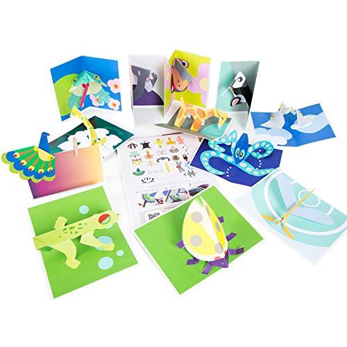 Logbuch-Verlag Pop-Up Karten Bastelblock - 24 Tier Karten zum Basteln - Bastelzubehör für Grußkarten Pop-Up-Karten Bastelpapier Block