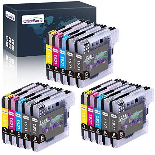 OfficeWorld - Cartucho de tinta compatible para Brother LC-61 LC 61 (6 negro, 3 cian, 3 magenta, 3 amarillo) (15 unidades)
