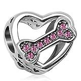 KunBead Mother Daughter Love Dog Bone Bead Charms for Bracelets Birthday Pink Crystal October Birthstone Charm