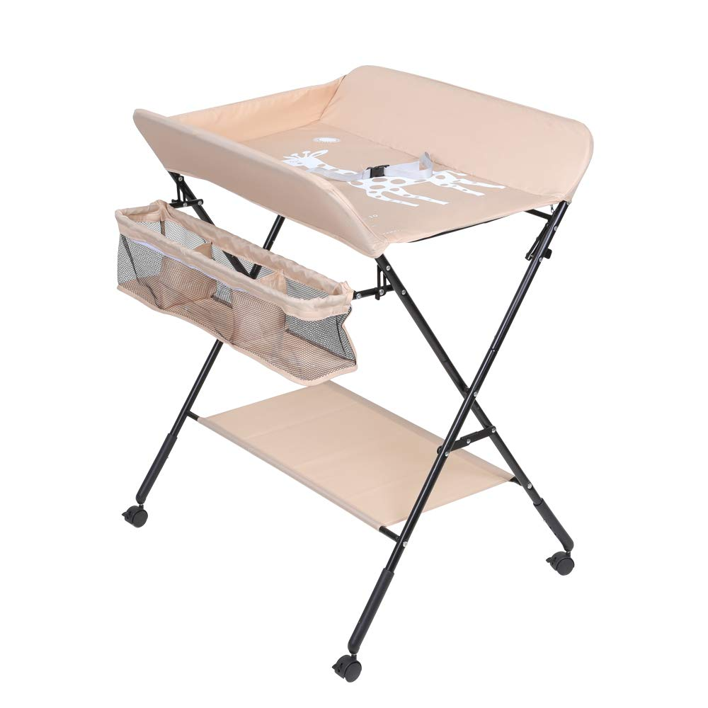 - Foldable Baby Changing Table, Infant Care Station With Wheels