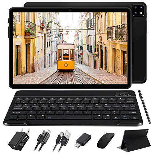 FACETEL Tablet 10.1 Pollici Android 10.0 OS, Octa-Core 1.6 Ghz 4GB RAM 64GB ROM + Espanso128 GB, Solo 5G WiFi | 1920 * 1200 FHD Display | 8000mAh Batteria | Tastiera Bluetooth e Mouse - Nero