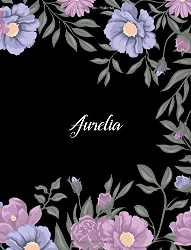 Aurelia: 110 Ruled Pages 55 Sheets 8.5x11 Inches Climber Flower on Background Design for Note / Journal / Composition with Lettering Name,Aurelia