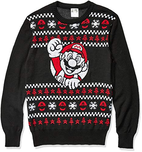Nintendo Suéter Feo de Navidad para Hombre de, Mario/Negro, Large