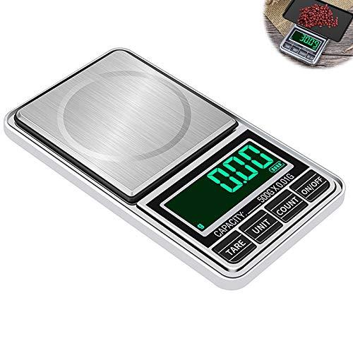 MHGLOVES Bilancia Di Precisione 0.01G, Mini Bilancia Precisione Digitale Scale 500G/0.01G, Bilancia Ultraleggero con Display LED per Pesa Cucina Gioielli Bilance Alimenti